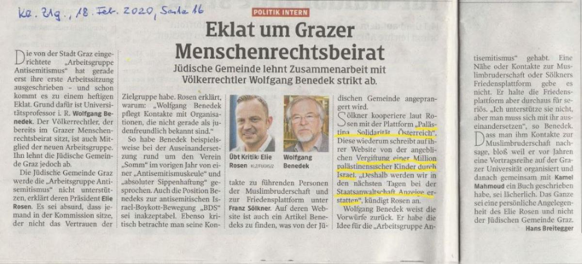 Antisemitismus-Attacke der Kleinen Zeitung 18.2.2020