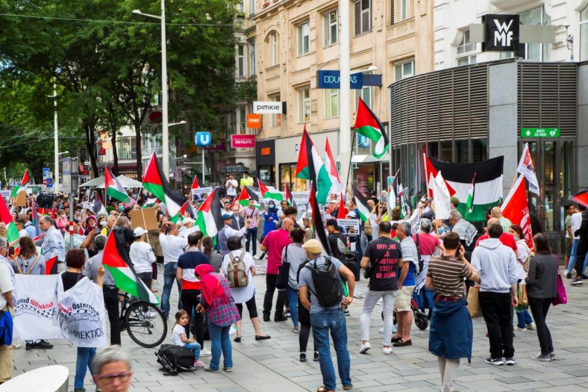 Kundgebung gegen die israelischen Annexionen
